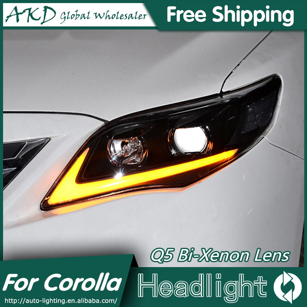 Akd car styling for toyota corolla headlights 2011 2013 altis led headlight drl bi xenon