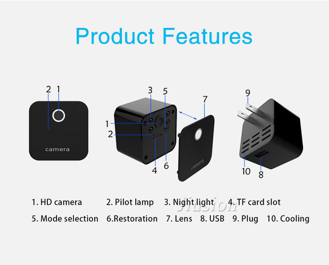 Mini WiFi Camera HD 1080P Night Vision Motion Sensor Micro Cam DVR Video Voice Recorder Remote Camcorder DVR of Charger Socket 5