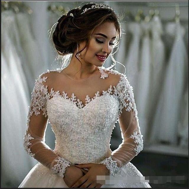 MN045 Vestidos de Novia Lace Long Sleeves Wedding Dresses Ball Gown Vintage Wedding Gown Robe de mariage 2018