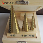 Binoax 3 Pcs/set HSS4241 Cone Titanium Coated Step Drill Bit Set Tools 4-32mm 4-20mm 4-12mm Hole Cutter With Wood Case