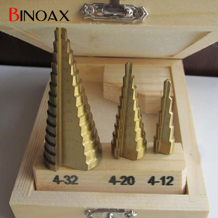 Binoax 3 Pcs/set HSS4241 Cone Titanium Coated Step Drill Bit Set Tools 4-32mm 4-20mm 4-12mm Hole Cutter With Wood Case 3pcs hss 4241 step cone drill bit set 1 4 hex shank titanium coated wood hole cutter 6 9 13 steps for power tools