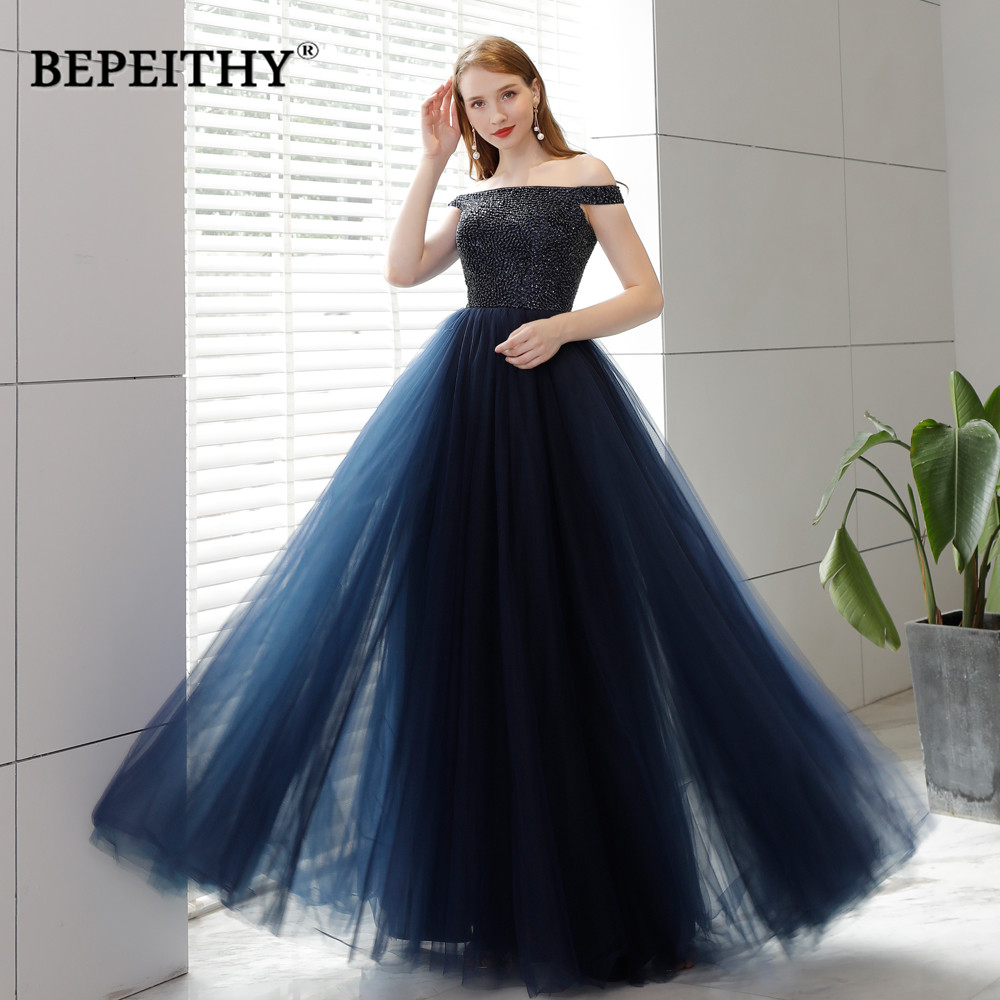 Sexy Off The Shoulder Navy Blue Long   Evening     Dress   Party   Dresses   2019 Vestidos Longo Beaded Top Open Back Sexy Prom   Dress   Long