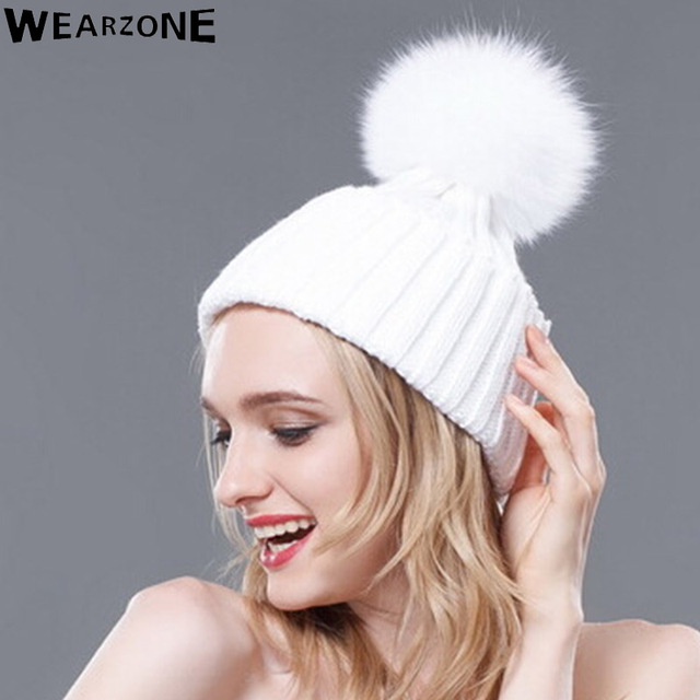 Wearzone Natural FoxFur 15cmPompon Hat Thick Winter For Women Cap Beanie Hats Knitted Cashmere Wool Caps Female skullies beanies