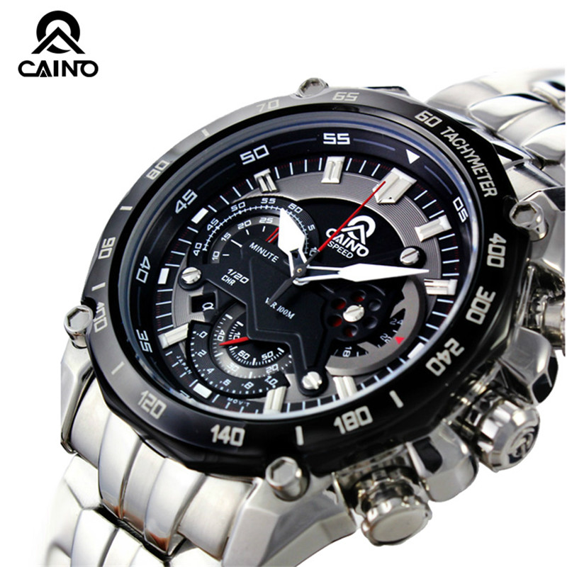 купить CAINO Men Sports Watches Chronograph Date 100M Waterproof Luxury Top Brand Clock Full Steel Business Fashion Quartz Wrist Watch онлайн