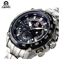 CAINO Men Sports Watches Chronograph Date 100M Waterproof Luxury Top Brand Clock Full Steel Business Fashion Quartz Wrist Watch