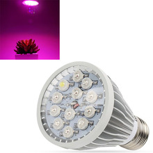Full Spectrum E27 12W Red+Blue+UV+White LED Grow Light Horticulture for Garden Flower Plant Hydroponics TB Sale