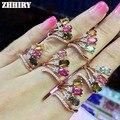 Joya natural turmalina anillo genuino esterlina del sólido 925 de plata Verdadera joya de compromiso joyería de la mujer