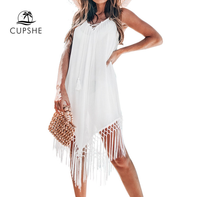 CUPSHE White Backless Cover Up With Tassels Sexy V-neck Lace Up Halter Beach Dress Women 2020 Summer Bathing Suit Beachwear 6