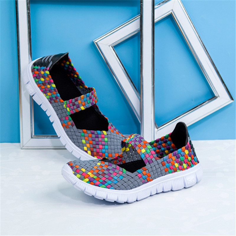 New hand woven shoes casual breathable elastic band sneakers fashion casual shoes shallow mouth light female Vulcanize shoes in Women 39 s Vulcanize Shoes from Shoes