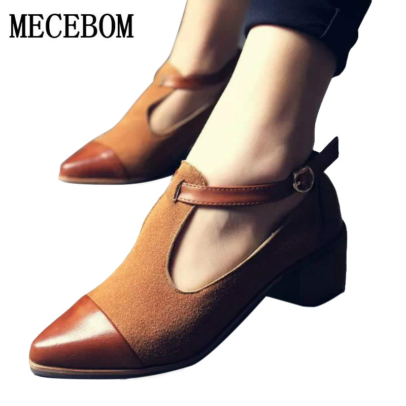 2017 Women Pointed Toe Oxfords British Style Low Heels Patchwork Buckle Oxford Shoes Casual