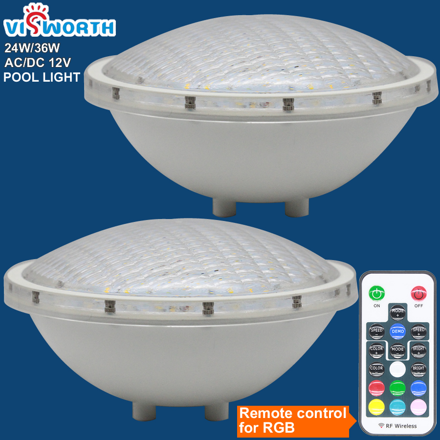 Par56 Underwater Lights 24W36W LED Swimming Pool Light Resin Filled Piscina Wall Mounted FocoPool Lamp IP68 12V Waterproof Light smuxi underwater lights rgb led swimming pool light resin filled piscina wall mounted pool lamp 12v ip68 18w pond