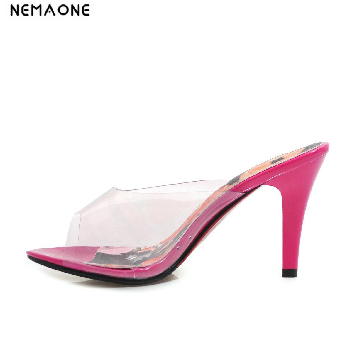 NEMAONE 2019 summer high heels 8cm stilettos clear pvc peep toe fashion slippers slides big size mules ladies sandals 46