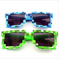 unisex Movable mosaic Sunglasses Minecraft my world around Toys JJ strange polarizing Glasses PVC steve figure Collectible model