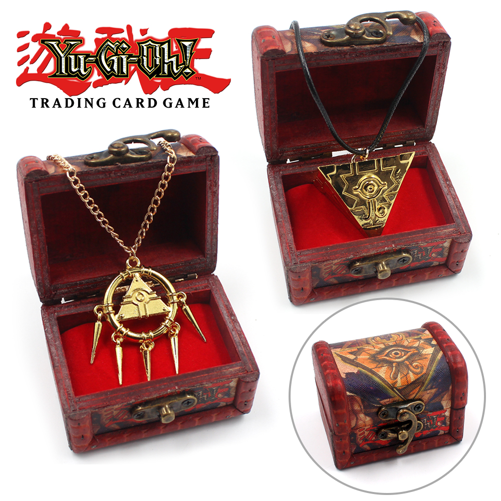 Millennium Puzzle Necklace Pendant 8pcs Sets Box Keychain Ring Toys Yu-Gi-Oh
