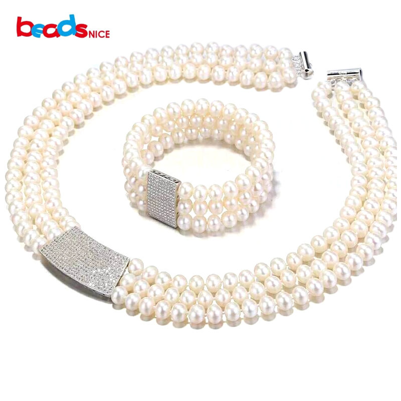 Beadsnice elegent pearl jewelry sets wholesale top quality freshwater pearl bracelet and multi layer necklace women ID30660 браслет с брелоками faux pearl bracelet elegent faux cxt906124