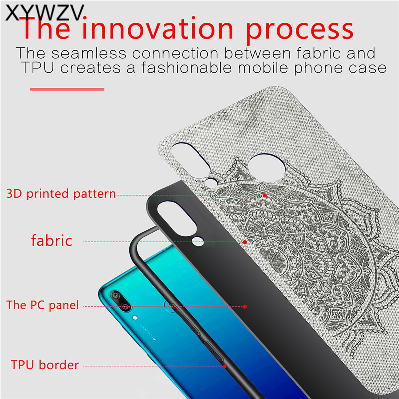 Image 3 - For Huawei Y7 2019 Shockproof Soft TPU Silicone Cloth Texture Hard PC Phone Case For Huawei Y7 2019 Back Cover Huawei Y7 2019-in Fitted Cases from Cellphones & Telecommunications