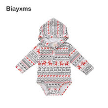 Christmas Baby Boy Girl Rompers Newborn Baby Long Sleeve Cartoon Deer Hooded Rompers Jumpsuit Infant Baby Boy Girl Clothing D15(China)