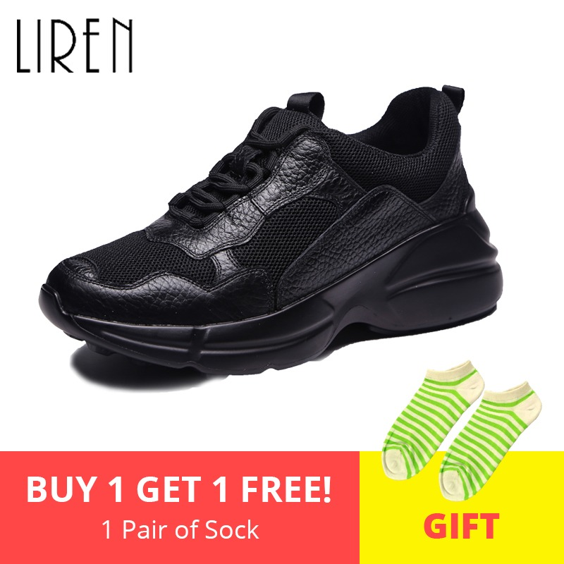 Liren 2019 Spring Autumn Women Sneakers Genuine Leather Breathable Casual Mesh Sneakers Black Women Flats Lace