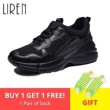 Liren 2019 Spring Autumn  Women Sneakers  Genuine Leather Br