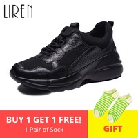 Liren 2019 Spring Autumn Women Sneakers Genuine Leather Breathable Casual Mesh Sneakers Black Women Flats Lace Up Women Shoes