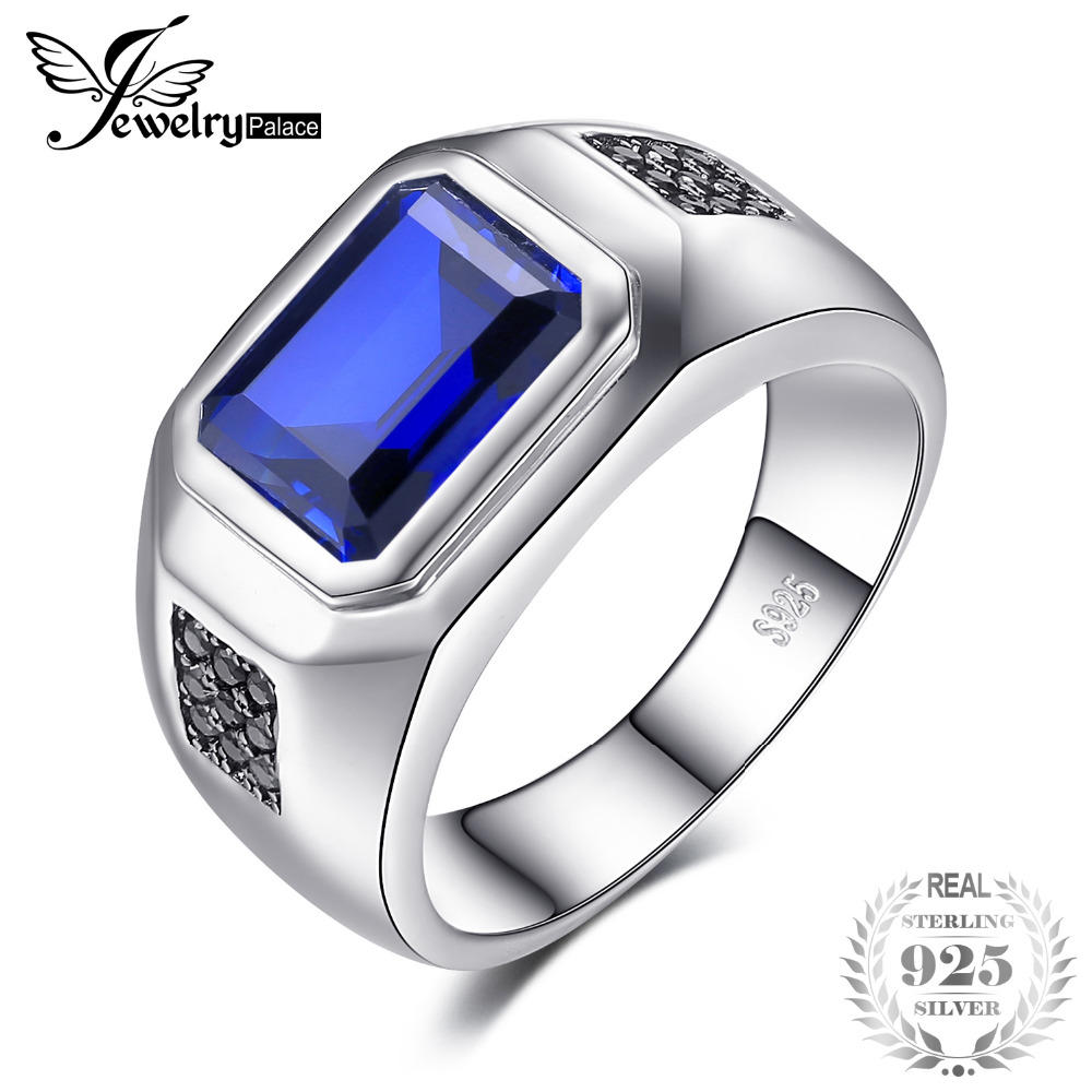 JewelryPalace 4ct Creation Sapphire Engagement Wedding Ring For Men Solid 925 Sterling Silver Vintage Charm Brand Fine Jewelry