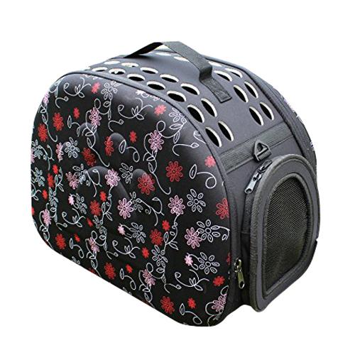 Fggs dobrável pet carrier dog cat saco de viagem dobrável saco alça de ombro bolsa preta com flores vermelhas quadriculada bolsa de viagem