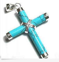 Hot sale Free Shipping 5pcs>>Jewelry Cross Turquoise Pendant Necklace