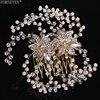 European Style Gold Pearl Bridal Hair Comb Accessories Ladies Crystal Headdress Wedding Diadem Queen Wedding Hair