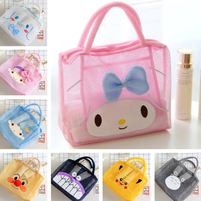 Hello Kitty My Melody Cinnamoroll Pompompurin Little Twin Stars Transparent Cosmetic Bags Storage Makeup Bag Wash Beach Bag