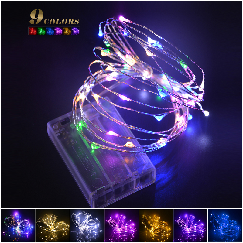 9colors 2M / 5M 20/ 50 LEDs RGB Holiday Lighting LED Copper Wire String Fairy Light Strip Lamp ...