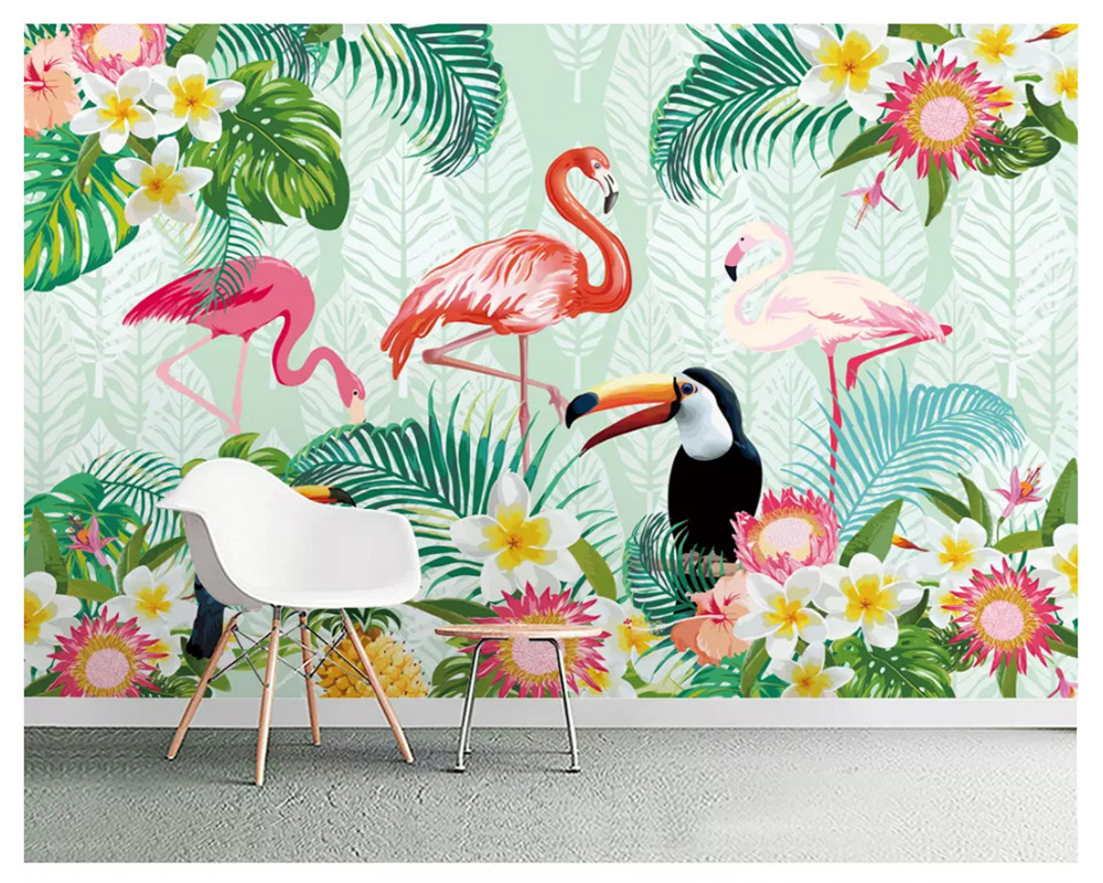 beibehang Custom fashion stereo wall paper tropical plant parrot flamingo indoor background papel de parede 3d wallpaper behang