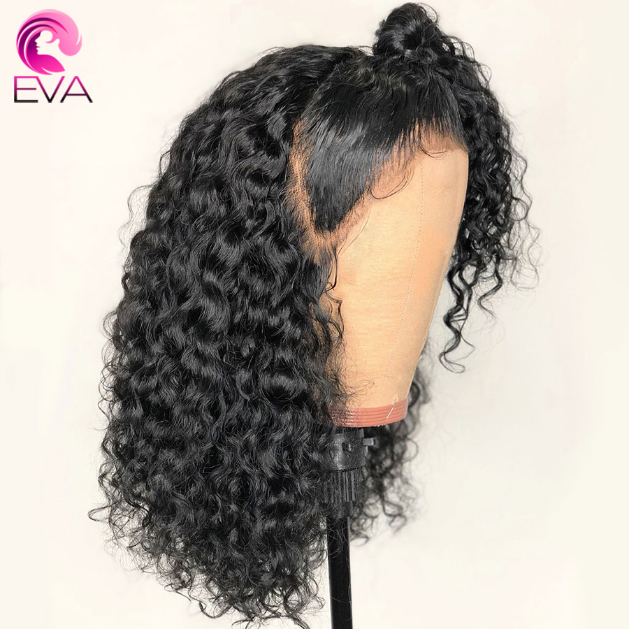 EVA 150 Density Curly 13x6 Lace Front Human Hair Wigs Pre Plucked With Baby Hair Glueless