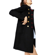 Buenos Ninos Vintage Stand Collar Double Breasted Woolen Coat Gold Button Decoration Medium & Long Jackets & Coats 50