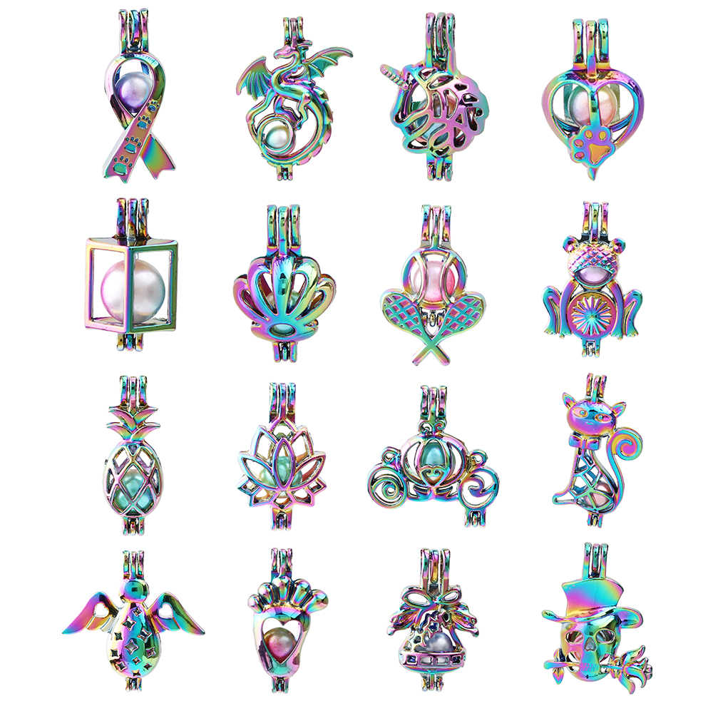 1pc Rainbow Color Dragon Ribbon Paw Unicorn Carriage Shell Pearl Cage Pendant Essential Oil Diffuser Locket for Oyster Pearls