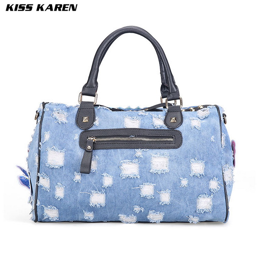 KISS KAREN Butterfly Embroidery Fashion Denim Women Bag Lady Handbags Jeans Tote Bag Rivet Women's Shoulder Bags Casual Totes-in Top-Handle Bags from Luggage & Bags    3