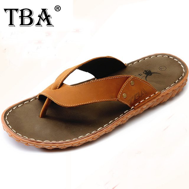 b92e34fc08ab TBA New Summer Sandals Classic Fashion Italian Style Men s Slippers Cool  Summer Beach Sliders Soft Cow Leather Slippers 5931