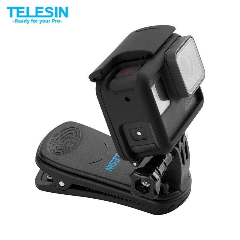 TELESIN Quik Release 360 Rotary Rucksack Clip Clamp Rec-halterungen Schnell Hut Clip Halterung für GoPro Hero7 6 5 4 3 2 und für Xiaomi YI