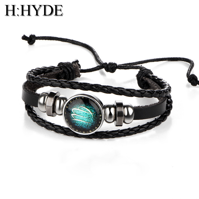 H:HYDE Virgo/Sagittarius/Aquarius/Scorpio/Libra/Capricorn 12 Constellation Bracelet Men Women Braided Leather Bracelets & Bangle