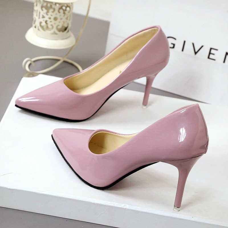 2019 sapatos femininos quentes bombas de dedo do pé apontado sapatos de couro de patente sapatos de salto alto sapatos de barco sapatos de casamento zapatos mujer 10 cm/7 cm