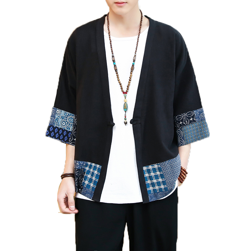 New Cotton Linen Men Shirts Male Three Quarter Sleeve Shirt Harajuku Man Retro Robe Men Kimono Traditional Open Stitch Shirt