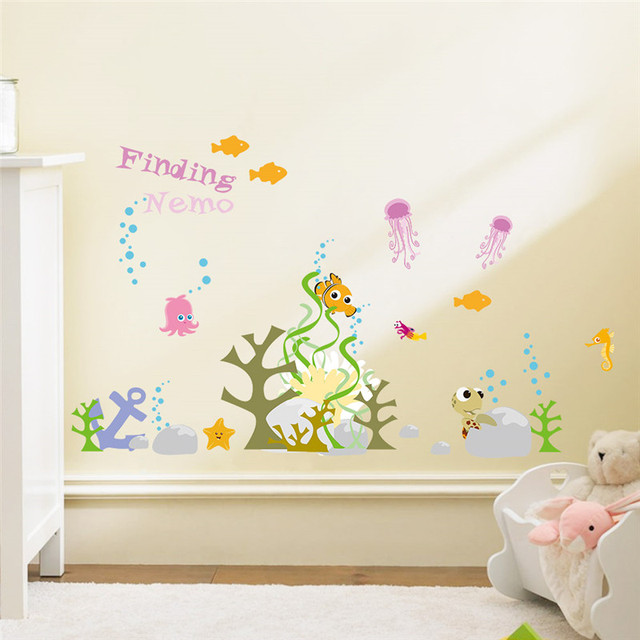 Captivating Cartoon Finding Nemo Underwater World Fish Bubble Seaweed Wall Stickers For Kids  Rooms Wall Decals Nursery
