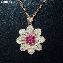 ZHHIRY Natural Ruby S925 Sterling Silver Necklace Pendant For Wwomen Reaal Gemstone Fine Jewelry Flower Shaped