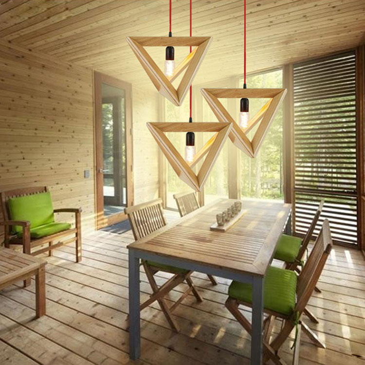 Vintage pendant light Oak Wood Retro lamp 100cm wire E27 socket Hanging triangle Rope light fixture 100-240V luminaire lamparas vintage retro 100
