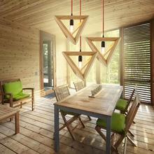 Designer light simple modern wooden IKEA oak retro Cafe solid wood triangle