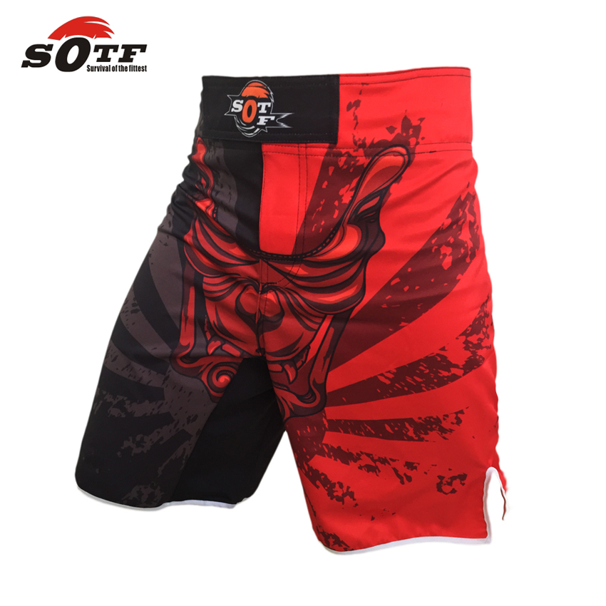 SOTF MMA men shorts boxing pants are red black white muay thai boxing shorts kickboxing shorts pretorian boxeo muay thai mma