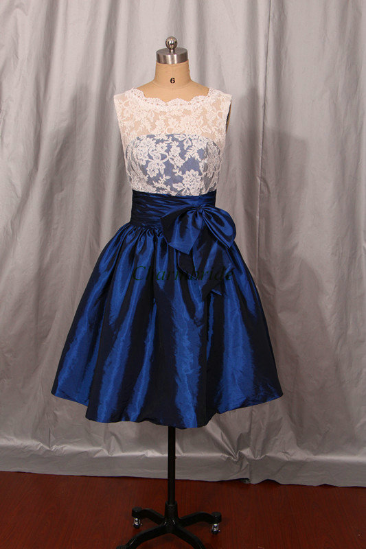 White Lace Navy Blue Taffeta Bridesmaid Dresses Simple Cute Gowns With Bow Knee Length Dress For Wedding Party In From