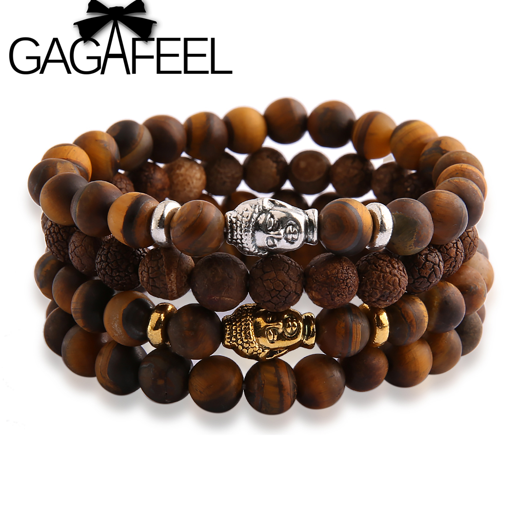 GAGAFEEL Famous Brand Watch Bracelets Buddha Head Bracelet Tiger Eye Beads Bracelets Bangles for Men Women DIY Jewelry Making