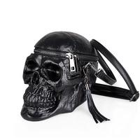 Unisex Black 3D Skull Bag Funny Men's Shoulder Bags Women Silicone Messenger Bag Female Handbag