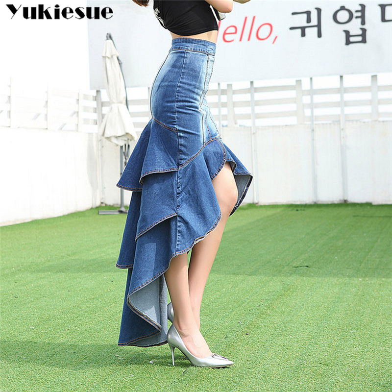 Lady Long Denim Skirt High Waist Gradient Tassel Jeans Trumpet Cool Fish Tail Mermaid Bohemian Maxi Skirts mermaid skirts female