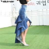 Lady Long Denim Skirt High Waist Gradient Tassel Jeans Trumpet Cool Fish Tail Mermaid Bohemian Maxi Skirts mermaid skirts female